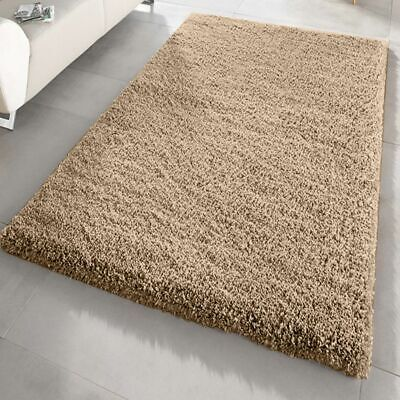 Large Small XL Shaggy Rug Modren Dark Beige Non Shed Plain Thick Fluffy Carpet