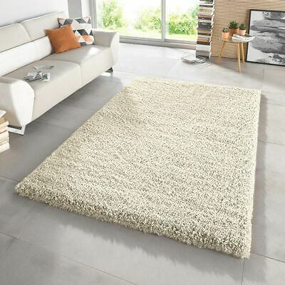 Large Small XL Shaggy Rug Modren Cream Shaggy Non Shed Plain Thick Fluffy Carpet