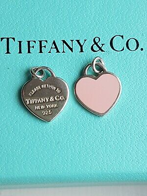 Tiffany & Co Mini Hearts Pendants For Necklace. Sterling Silver & Pink Enamel