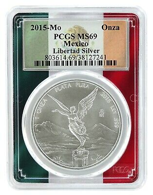 2015 Mexico 1oz Silver Onza Libertad PCGS MS69 - Flag Frame