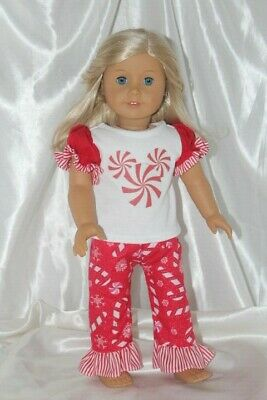 Dress Outfit fits 18 inch American Girl Doll Clothes Christmas Pajamas Lot M