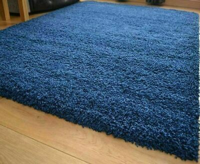 Large Small XL Shaggy Rug Modren Dark Blue Non Shed Plain Thick Fluffy Carpet