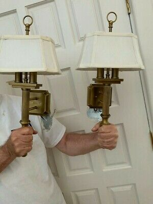 Matching Pair Antique/Vintage Brass Wall Sconce Lights w/ Shades