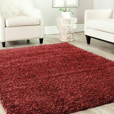 Large Small XL Shaggy Rug Modren Wine Red Non Shed Plain Thick Fluffy Carpet