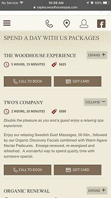 Woodhouse Spa Gift Certifcate For Two Or $500 Credit For Services/Products