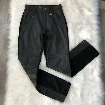 Harley Davidson Black Leather Spandex Riding Pants Size 4/30 Zippers at Knees