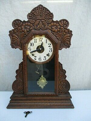 Antique Sessions Mantel Clock In Solid Wood Cabinet Nice Case Needs Serviced Str