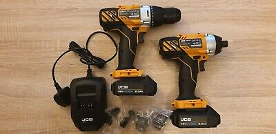 JCB Cordless 18V Li-ion Drill & Impact Driver with 2 batteries and charger - set