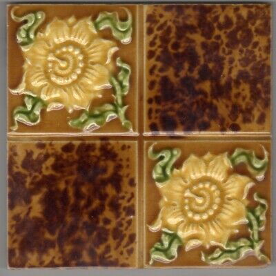 Henry Richards - c1905 - Yellow Passion Flower & Tortoise Shell - Antique Tiles