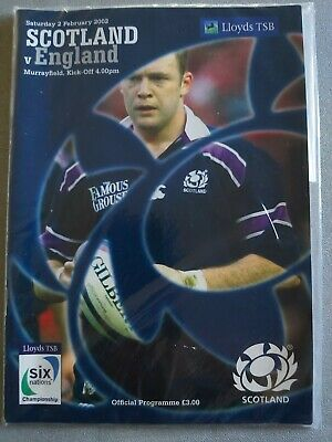SCOTLAND V ENGLAND 2nd February 2002 -SIX NATIONS CHAMPIONS-RUGBY PROGRAMME