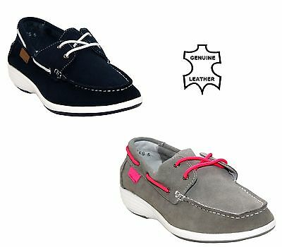 Womens Ladies Lace Up Loafer Lightweight Comfort Real Leather Deck Boat Shoes Uk