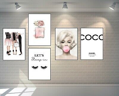 SET OF 5 CHANEL PERFUME BOTTLE A4 PRINTS + MARILYN MONROE + QUOTE - Home Gifts