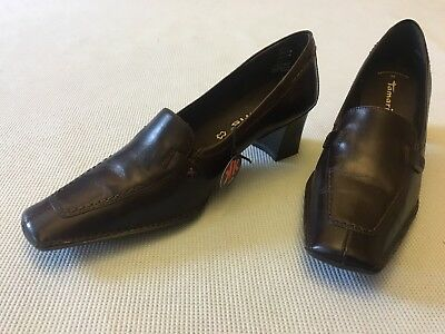 TAMARIS 22400 Black Soft Leather Court Shoe With Anti Shock Heel Touch It Insole