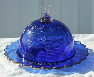 Antique Pressed Glass Covered Butter Dish Blue Northwoods 225 Venetian Utopia