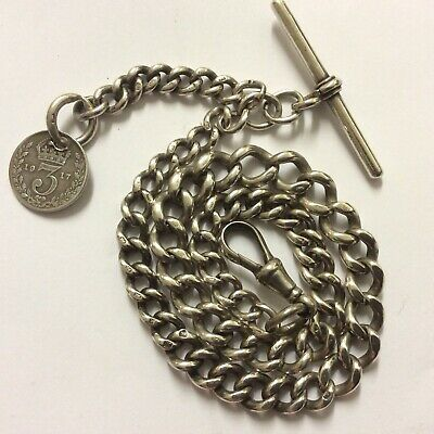 Antique Hallmarked English Silver graduated Curb Link Albert Chain / Watch Chain