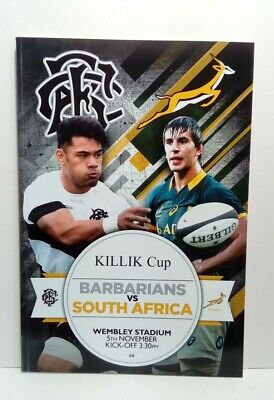 Barbarians v South Africa International Rugby Union Programme 5/11/16 Killik Cup