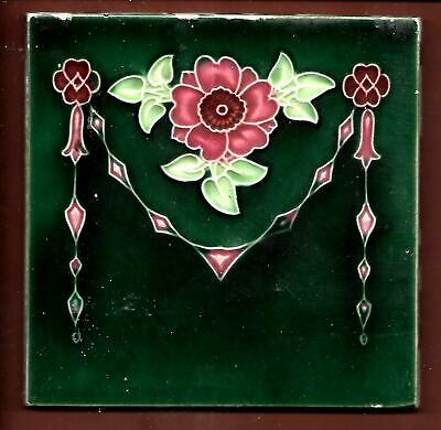 Antique Moulded Stylised Floral Tile C1910