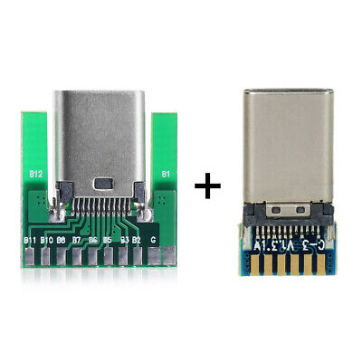 Cablecc USB 3.1 Type C Male & Female Plug & Socket Connector SMT type with PCB