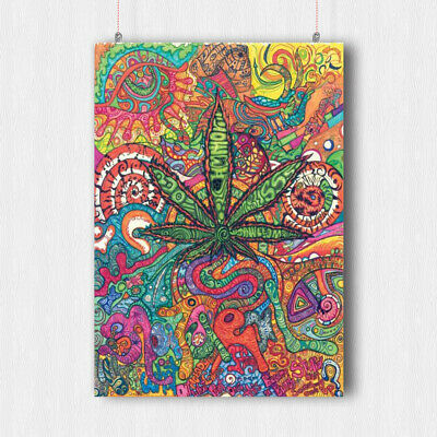 Trippy Psychedelic Poster Weed Marijuana Wall Art Print Image- A3 A4 Size