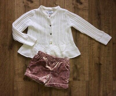 🌟Girls Gorgeous Cardigan & Shorts Outfit Pink Cream Frill Velvet Age 4-5 Years