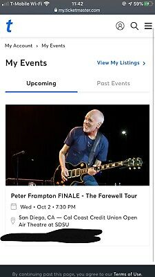 Peter Frampton Concert Tickets (10/02/19) @ SDSU MUST SELL (IGNORE SHIP DATE)