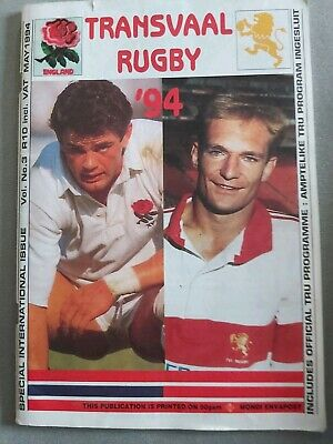 TRANSVAAL, SOUTH AFRICA v ENGLAND 1994 RUGBY PROGRAMME