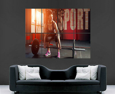 Girl Fitness Weightlifting Poster Sport  Sexy Art Large Wall Picture Big Print