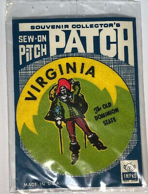 "NOS HTF Vtg 1969 3"" IMPKO Original VIRGINIA The Old Dominion State Patch Sew On"