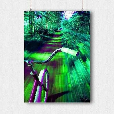 Trippy Bike Bicycle Poster Forest Psychedelic Life  Wall Art Print- A3 A4 Size