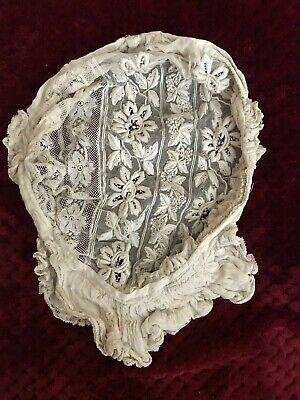 Gorgeous Handmade 19th C. French Antique BONNET Hand embroidery on tulle