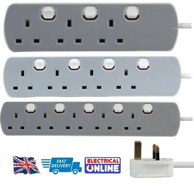3 / 4 / 5 Way - Gang Extension Lead Grey and White neon Switched UK Plug 13A