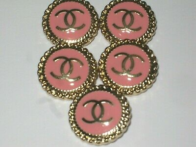 CHANEL 5 matte gold pink BUTTONS  sz 20mm metal  cc logo, 5 pc