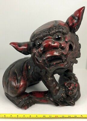 Large Heavy Antique Chinese Foo Dog  Guardian Lion Solid Carved Wood Very Old
