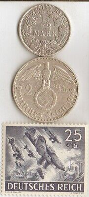 """*2 - *german Silver(.900%+.625%)-coins + WW2 -Stamp + *egyptian *king """"Tut"""" coin"""