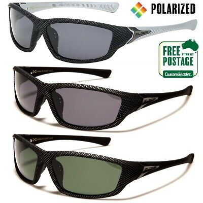 Xloop Polarised Sunglasses - Carbon Fiber Print - Mens Wrap - Polarized Lens