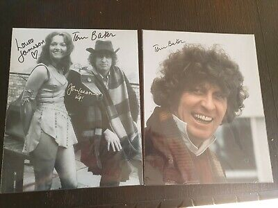 Doctor Who Tom Baker Genuine Hand Sign Autos x2 +Louise Jameson+K9.FREE POST WW!