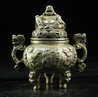 China old hand-carved copper-plating silver Buddha incense burner d02