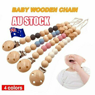 Baby Infants Nipple Holder Chewing Toy Clip Wooden Chain Soother Beads %N