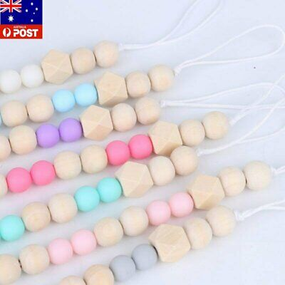 Baby Infant Wooden Beaded Pacifier Holder Clip Nipple Teether Dummy Chain AU