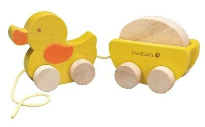 NEW EverEarth Wooden Pull Along Duck and Egg - Baby Pull Toy