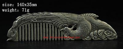Chinese old  copper plating silver Carved Delicate Phoenix Comb Statue a01