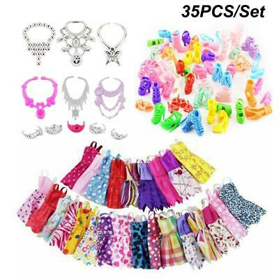 35PCS/Set Doll Clothes Shoes Dress Jewellery Accessories For Barbie Dolls Gift
