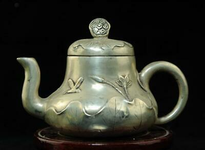 chinese old  copper-plating silver hand engraving teapot d01