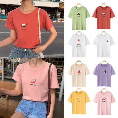 Women Girls Harajuku Fruit Printed Short Sleeve Blouse T-shirt Loose O Neck Tops
