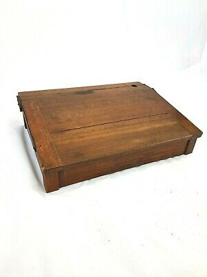 An Original Vintage Oak Writing Slope / Desk Top Made From School Desk