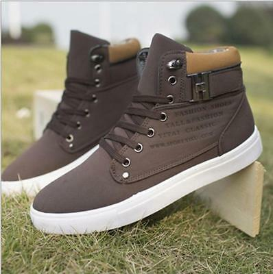 Mens Lace Up Casual Flat Hi High Top Ankle Boots Shoes Trainers Sneakers CH