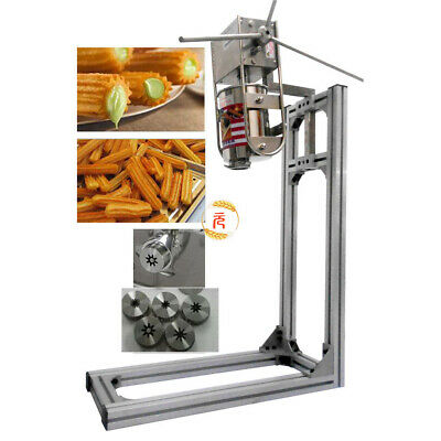 Stainless Steel 3L Manual Vertical Donut Churros Machine Maker w/Stand 5 nozzles