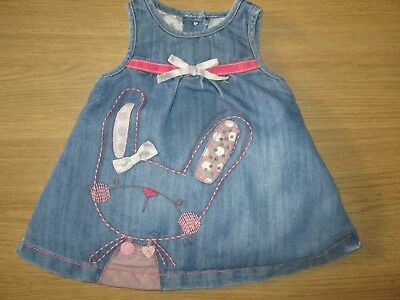 NEXT Girls Pretty Bunny Rabbit Denim Pinafore Dress - 0-3 Months