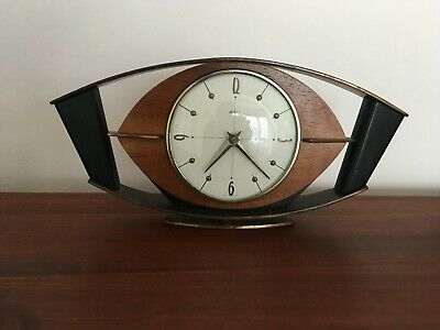Vintage Metamec Small & Wood Brass Retro Mantle Clock Battery Converted