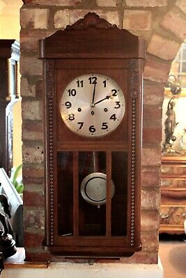 Antique German Junghans Wurttemberg 10-Day Oak Case Clock & Westminster Chimes